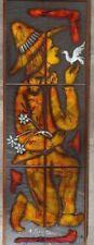 """Panneaux de céramique, Vintage, Emile Rocher (1928-2014), """"Homme à la Colombe"""""""