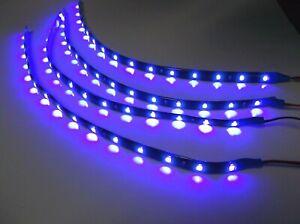"""4 BBT 12"""" Flexible Waterproof 12 volt Blue LED Landscape Strip Lights"""