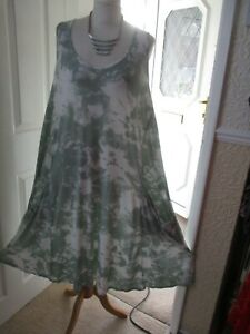 Yours Tie Dye Look Lagenlook Style Sleeveless Tunic Dress with Pockets Size 24