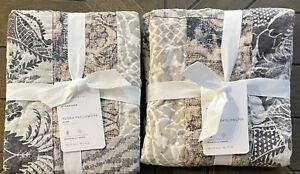 2 Pottery Barn Tessa Standard Pillow Shams Patchwork Gray Multi NEW