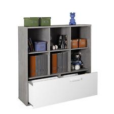 Libreria con 6 caselle e cassetto inferiore in legno colore cemento e bianco