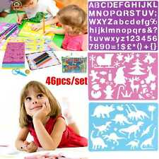 48pcs Kids Stencils Templates Set for Children Painting Drawing Tools Washable