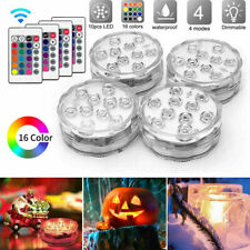 4PCS Underwater 10 LED Lamp IP65 Remote RGB 16 Colour Changing Pond Aqua Lights