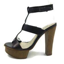 "Wooden Heel Platform Sandals Size 7.5 Extra High (5"") FREE U.S. SHIPPING"