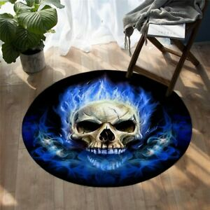 Blue Flame Fire Gothic Skull Abstract Round Rug Carpet Mat Living Room Bedroom