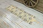 2x6.9 Ikat Vintage Oushak Beige Runner, Neutral Beige Farmhouse Decor Carpet