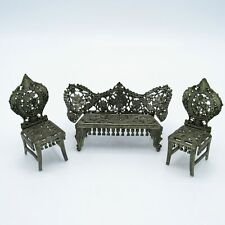 Antique Metal Doll Furniture, Settee, and 2 Chair, NR