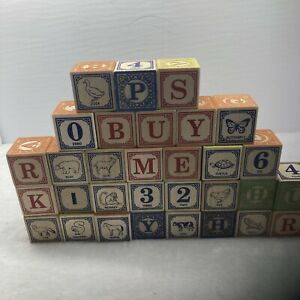 """Alphabet Wood Wooden Blocks 1 3/4"""" Crafts DIY Letters Numbers Animal Lot of  32"""