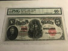 1907 $5 Legal Tender *WOODCHOPPER* PMG 40 EPQ PCBLIC ERROR Fr 91