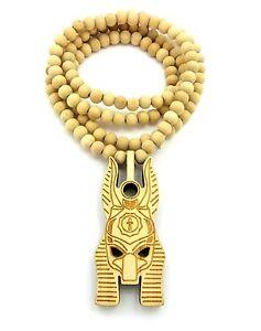 "Egyptian God Anubis Head Pendant 8mm 36"" Wooden Bead Necklace XJ232"