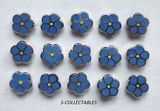 More details for ( 15x ) ✿ tiny masonic 'forget me not' pin badge ✿ chrome/enamel flower, lapel
