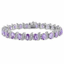 Amour Sterling Silver Amethyst and Diamond Accent Tennis Bracelet