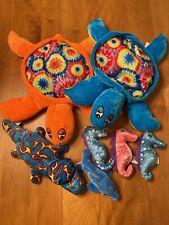 National Prize & Toys (7) Stuffed Animals Turtles,Seahorses,Dolphin ,Lizard