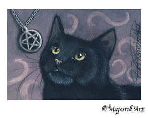 """Archival ACEO Print Black Cat Witch Wicca Pagan """"Mesmorised"""" By V Kenworthy"""