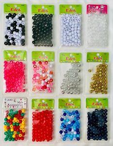 Eden Medium Hair Beads For Braids/Dreadlocks/Pony - White, Pink, Red, Blue, Gold