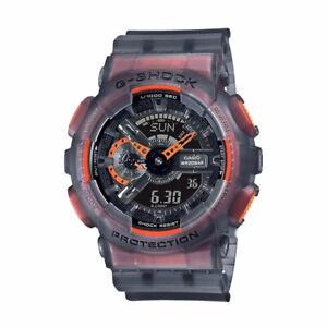 NEW G-Shock GA110LS-1A Men's Watch Black Orange Clear Strap