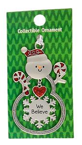 "Ganz Collectible Snowman Christmas Ornament ""We Believe"" Great Gift, Pkg Decor"