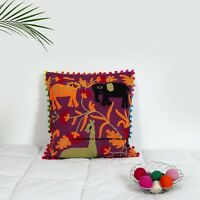 Maroon Suzani Embroidered Cushion Cover Pillow Sham Indian Decorative Throw 16""