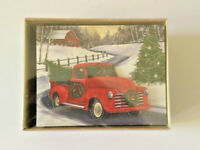 Red Farm Truck Boxed Christmas Cards Boxed 3 D Cut Out 18 cards and envelopes
