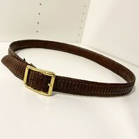 Cole Haan Sz 36 Men's Brown Leather Belt Woven Brass Buckle