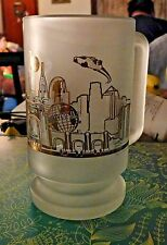 Vintage Universal Studios Orlando Florida Frosted Gold Glass Stein Cup Mug