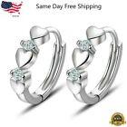 Внешний вид - Elegant Heart 925 Silver Hoop Earring Women White Sapphire Jewelry A Pair/set