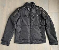 New Hackett Aston Martin Moto Jacket Black Nylon Leather Shoulder