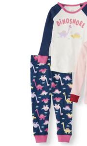 Dinosaur Baby Girl Pajamas NWT 12 18 24 Mo 100% Cotton Snug Fit Wonder Nation
