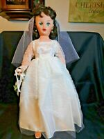 "Wedding Bride 20"" Doll Brunette Blue/Green Eyes Starlet Dot Clothes Movable Arms"