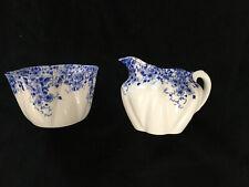 """Vintage Shelley """"Dainty Blue"""" Creamer & Sugar Set"""
