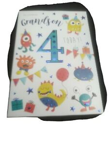 Grandson 4 4th Cute Monster Party & Cake Design Happy Birthday Card Lovely Verse