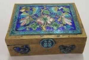 Vintage Chinese Copper Box W Enamel Peacock Cloisonne & Wood Insert