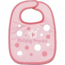 1st Birthday Princess Baby Girl Pink Embroidered Fabric Bib Party Accessory