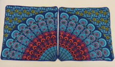 2 x Cushion Covers - Multi-coloured / blue on Black - 40cm x 40cm Unfilled