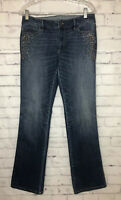 White House Black Market The Boot Size 6 Embellished Blue Jeans Stretch