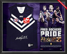 Matthew Pavlich Signed Fremantle Dockers Retorspective Career AFL Jumper Framed
