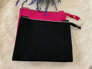 2 LANCOME Shimmering Pink & Black Zippered Makeup Bag