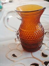 Amber creamer Glass Diammond pattern center swirl top, patterned bottom[10]
