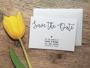 Personalised Wedding Save The Date Cards + Magnet + Envelopes Day Diamante H21A7