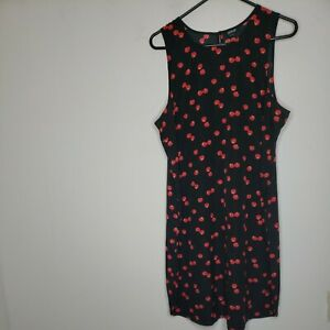 a.n.a. A New Approach Women's Dress XL Black Red Cherries Cherry Keyhole Back