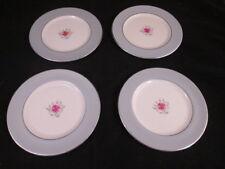 Miramar by Flintridge 4 Bread Plates Gray Rim Pink Rose Platinum Trim 1952-72