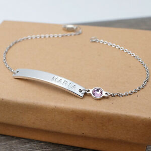 Personalized Birthstone Bracelet Custom Bar Bracelet Name Bracelet Gift for Her