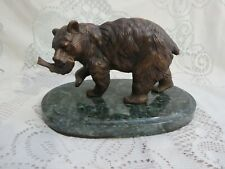 Bronze Sculpture Bear w/ Fish on Marble Base Signed Mene