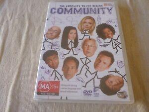 Community : Season 3 (DVD, 2014, 3-Disc Set) Region 4 NTSC Joel McHale