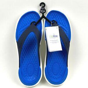 Crocs Unisex LiteRide Flip Slip On Blue Navy White Size Mens 9 Womens 11 New