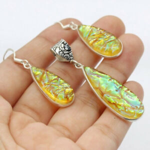 """Opal Tripplet 925 Silver Plated Handmade  Pendant & Earring Set 2.2"""" Ethnic Gift"""