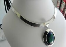 EPIC! 58g sterling silver 925 Sue CHM azurite malachite pendant choker necklace