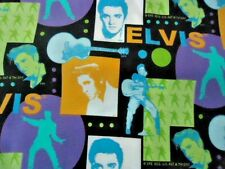 Elvis Presley 1956 VIP Cranston Fat Quarter  Black Purple Turqouise Lime Green