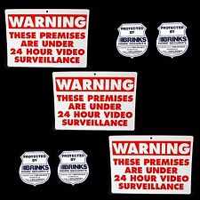 3 Home Security Camera Yard Warning Signs+Brinks Adt Alarm Window Glass Stickers