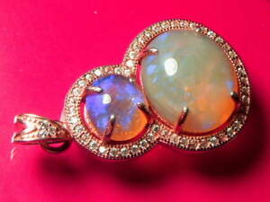 Solid Crystal Opal (1.58 and 5.8) carat  and 3g 18K Rose Gold Plated Pendant.